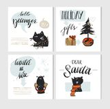 Hand made vector abstract Merry Christmas greeting card set with cute xmas black cats character in winter clothing and Royalty Free Stock Images