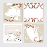 Hand made vector abstract Merry Christmas greeting cards set with cute xmas polar bear characters in winter clothing and vector illustration