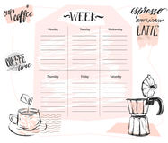 Hand made vector abstract Scandinavian Weekly planner template with graphic coffee illustration in pastel colors Royalty Free Stock Photography