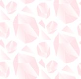 Hand made vector abstract simple seamless pattern with pink polygonal crystal isolated on white background.Unique simple Stock Photo