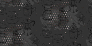 Hand made vector abstract textured graphic illustration of coffee maker,cups,cupcakes and teapots on black background Stock Images