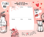 Hand made vector abstract textured romantic Weekly planner template with graphic illustration in pastel colors Royalty Free Stock Images