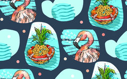 Hand made vector abstract textured summer time seamless pattern with pink tropical flamingo,pineapple in lifebuoy and Royalty Free Stock Photography