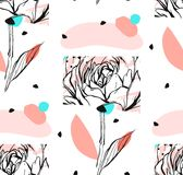 Hand made vector abstract textured trendy creative universal collage seamless pattern with floral peony motif isolated. On white background with different Royalty Free Stock Photography
