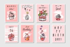 Hand made vector abstract textured unusual artistic collage Happy Birthday greetings cards collection set templates in. Pastel colors isolated.Invitation Stock Image