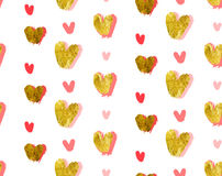 Hand made vector abstract Valentines day concept seamless pattern with golden foil textured and pink hand drawn hearts. Isolated on white background,Design for Stock Photo