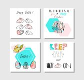 Hand made vector collage abstract Easter greetings cards template collection set with drawing decoration elements Royalty Free Stock Photo
