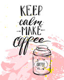 Hand made vector modern ink handwritten calligraphy phase Keep Calm Make Coffee with arrows  on white background. Hand made vector modern ink handwritten Stock Images