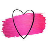 Hand made vector pink paint stroke glitter texture with heart Stock Photography