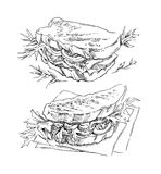 Hand made vector sketch of sandwich. royalty free illustration