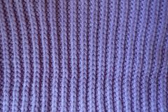 Handmade violet rib knit fabric with vertical wales Royalty Free Stock Images