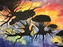 Hand-made watercolor illustration flying forest with homes Stock Images