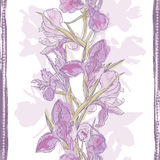 Hand made watercolor iris flowers seamless banner Stock Photos