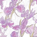 Hand made watercolor iris flowers seamless pattern Stock Photos