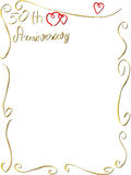 Hand made Wedding anniversary border invitation. A hand made wedding anniversary border invitation frame with copyspace, beautiful rings hearts Royalty Free Stock Photography