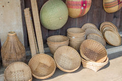 Hand made wicker baskets in a shop Royalty Free Stock Images