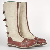Hand-made winter boots of highlanders of zakopane Royalty Free Stock Images