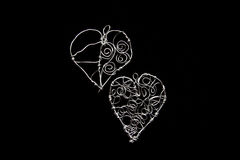 Hand made wire hearts Stock Photography