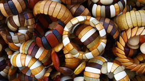 Hand made wood bracelets Stock Photos