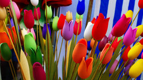 Hand made wood tulips. In market Stock Images