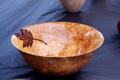 Hand made wooden bowl Royalty Free Stock Images