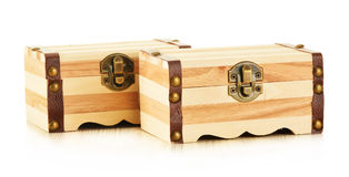 Hand made wooden box on white background Stock Photos