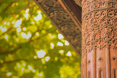 Hand made wooden carving pillar Royalty Free Stock Photos