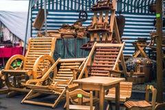 Hand made wooden garden furniture.  stock image