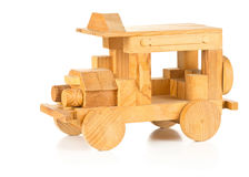Hand made wooden toy car on white background Royalty Free Stock Images