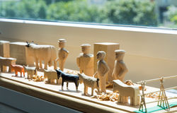 Hand-made wooden toys: manikins and animals Royalty Free Stock Photos