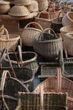 Hand made wooden wattled basket Royalty Free Stock Photography
