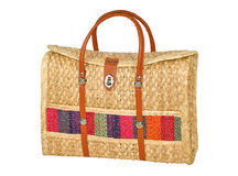 Hand-Made Woven Handbag Isolated on White. Includes clipping path Royalty Free Stock Images