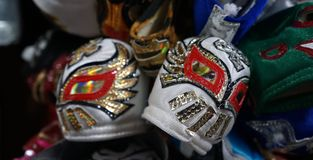 Hand made wrestling masks stock photography