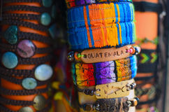 Hand-made wristband with sign Guatemala on it Stock Photography