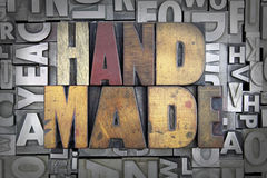 Hand Made. Written in vintage letterpress type royalty free stock images