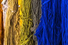 Hand Made Yarn Colors. Hand made yarn to be used in weaving stock images