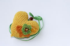 Hand made yellow heart. Holiday souvenir. Royalty Free Stock Image