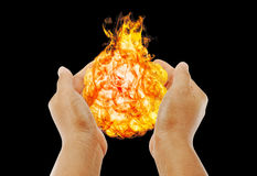 Hand of magic fire. Royalty Free Stock Photos