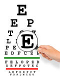 Hand with magnifier and eyesight test chart. Isolated on white background Stock Photos