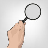 Hand with Magnifier. Hand with the magnifier.  Searching, detecting and analyzing concept. Vector illustration useful for search sign and icon isolated on light Royalty Free Stock Image