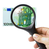Hand Magnifying Glass Banknote 100 Euro. Male hand holding a magnifying glass over 100 euro banknote isolated on white background Stock Photo