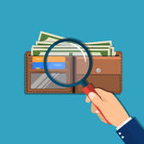 Hand with magnifying glass. And leather wallet with dollar cash, coins, bank cards. Check the financial stability. Vector illustration in flat style Royalty Free Stock Images