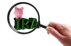 Magnified IRA piggy bank. Hand with magnifying glass looking at a piggy bank and IRA text stock photography