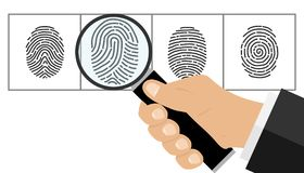 The hand with the magnifying glass looks at the fingerprint. The detective looks at the fingerprint. Flat design vector illustration, vector Stock Photography