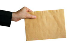 Hand with mail. On white background Royalty Free Stock Image