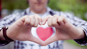 Hand make a heart. By man Royalty Free Stock Images