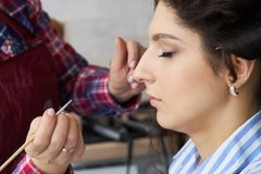 Hand of make-up master painting, make up in progress. Makeup artist applies mascara to the eyelashes of the model girl stock photos