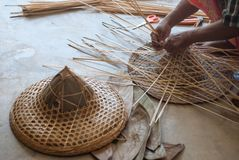 Weaving Bamboo Hat royalty free stock photography