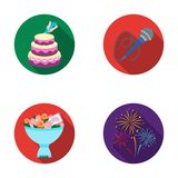 Hand making a cake with cream, a microphone with a cord, a bouquet of roses with a greeting card, a festive salute. Event services set collection icons in flat Stock Image