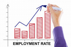 Hand making employment rate chart Stock Photos